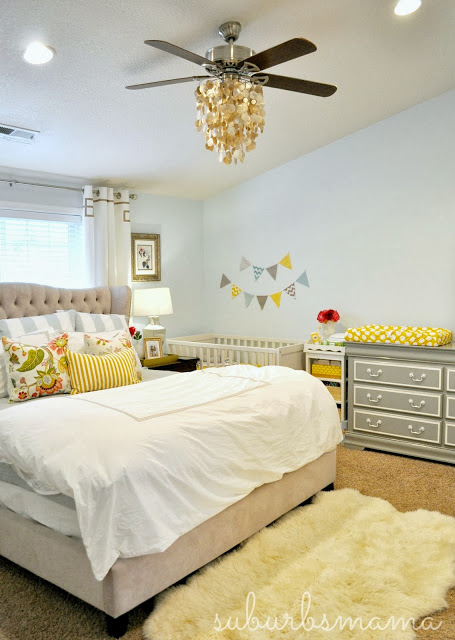 master bedroom nursery at Suburbs Mama