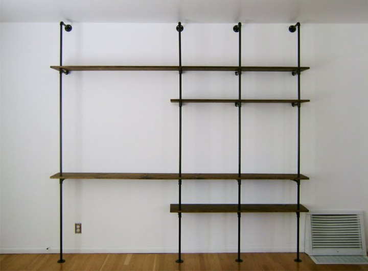 pipe shelving at the Brick House