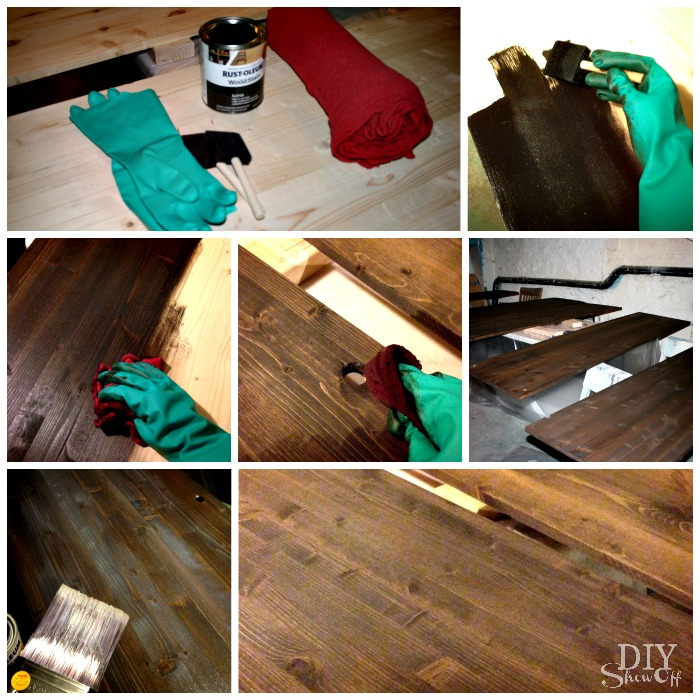 staining wood shelves