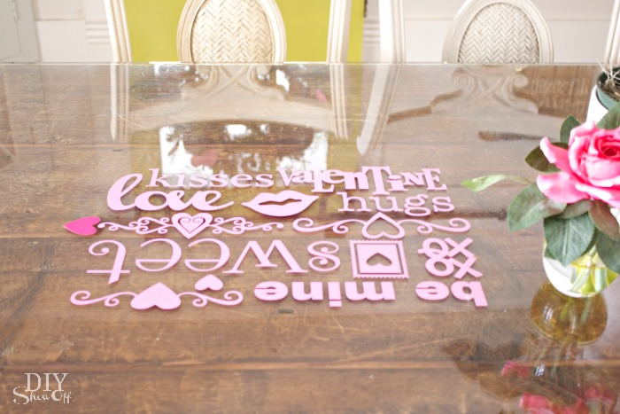 Valentine glass top table vinyl decals