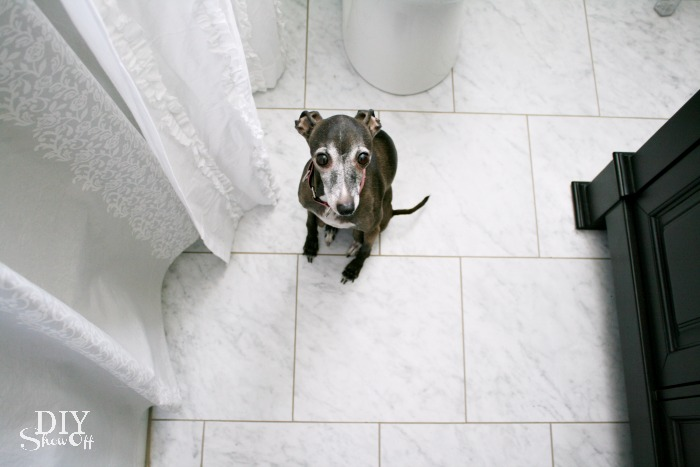 grouted vinyl floor tiles - diyshowoff bathroom makeover