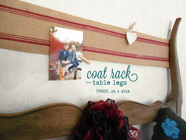repurposed table legs coat rack - Denise on a Whim