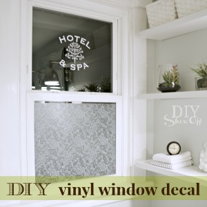 DIY bathroom window decal tutorial at diyshowoff.com