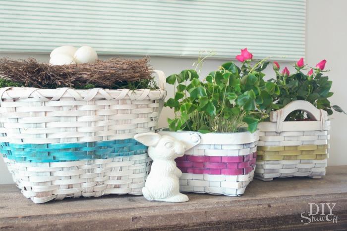 DIY spray painted basket collection at diyshowoff.com