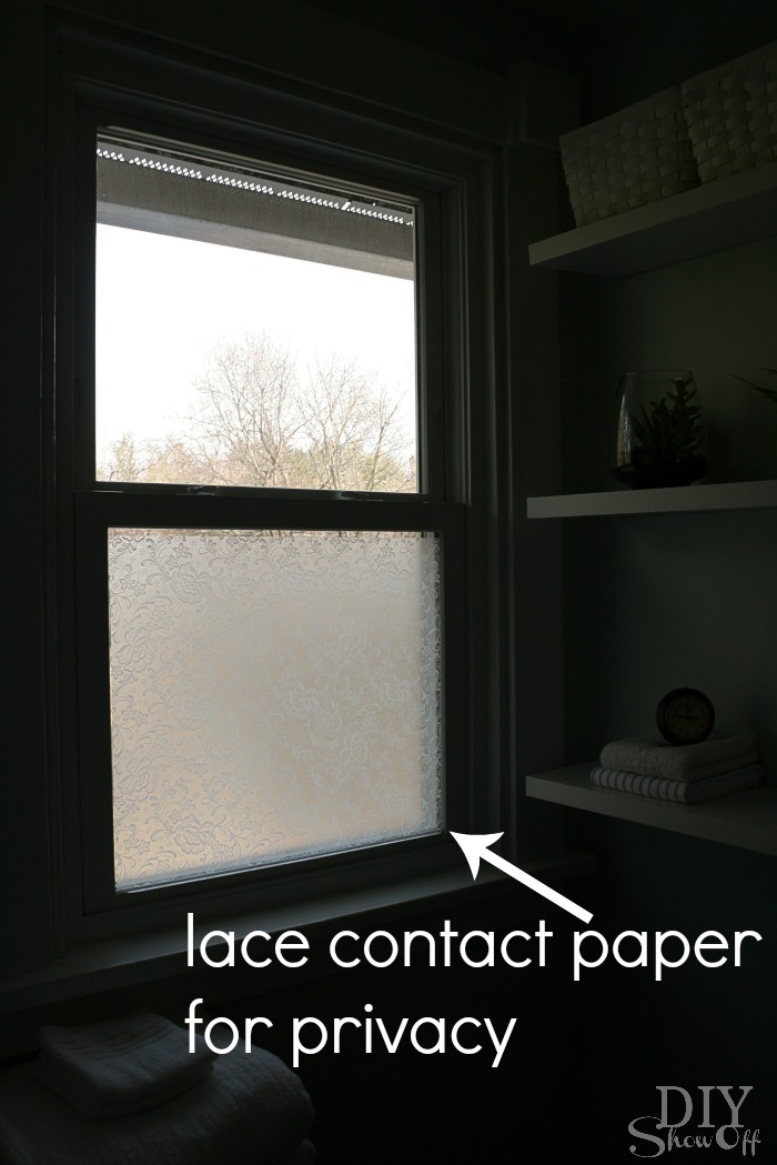 lace contact paper on bathroom window for privacy