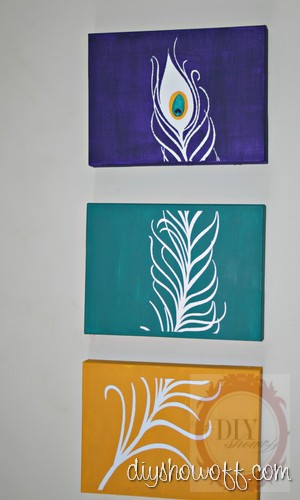 triptych peacock feather canvas