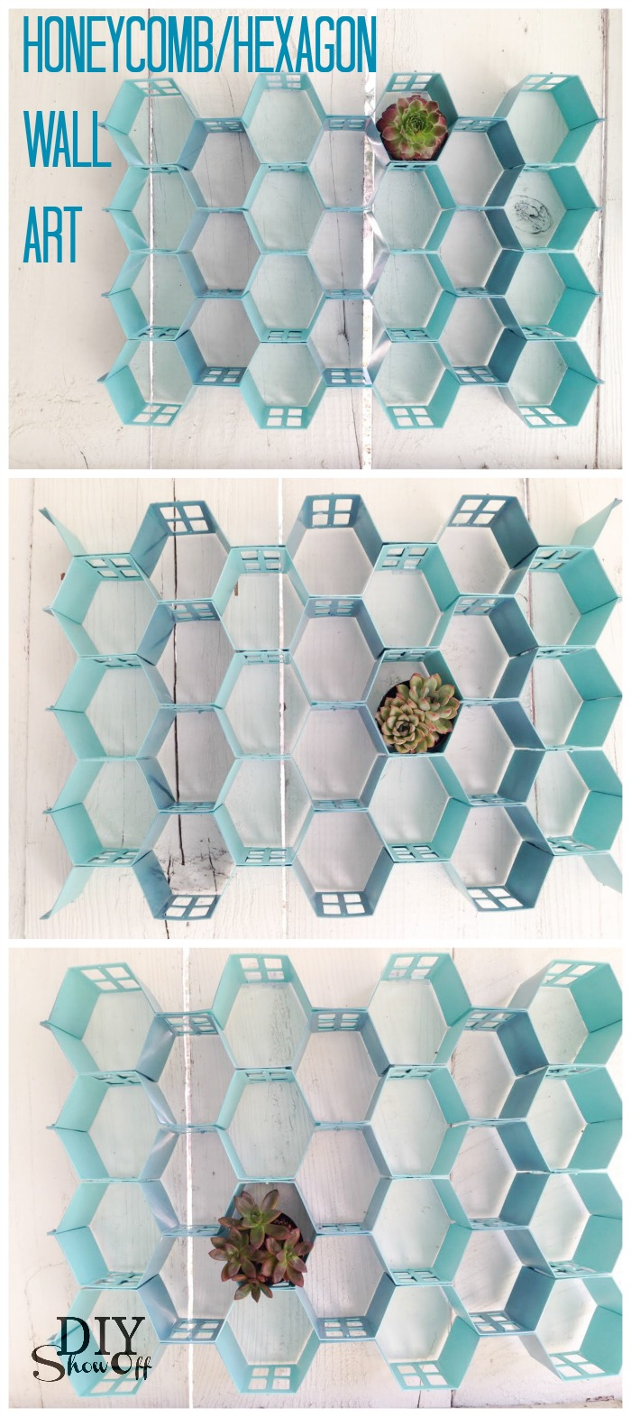 DIY honeycomb hexagon wall art at diyshowoff.com