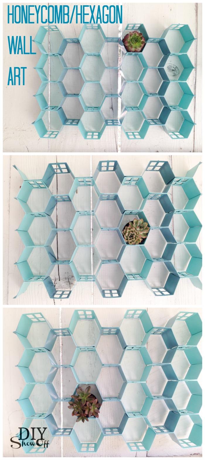 DIY honeycomb hexagon wall art at diyshowoff.com