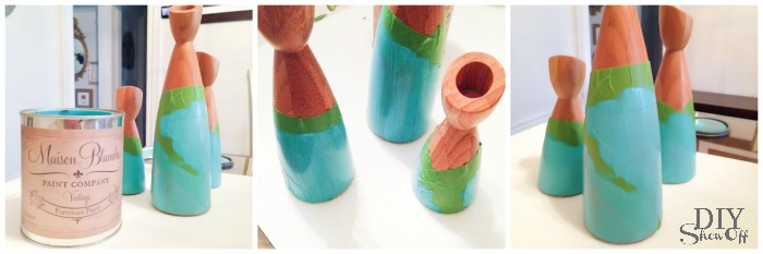 turquoise + wood painted candle tutorial at diyshowoff.com