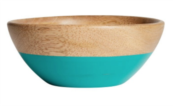 H&M turquoise and wood bowl
