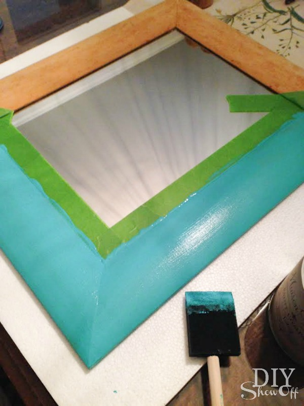wood and turquoise mirror makeover at diyshowoff.com