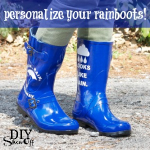 DIY rainboots vinyl decal design tutorial at diyshowoff.com
