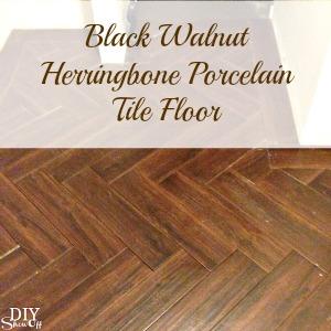 Herringbone Tile Floor @diyshowoff.com