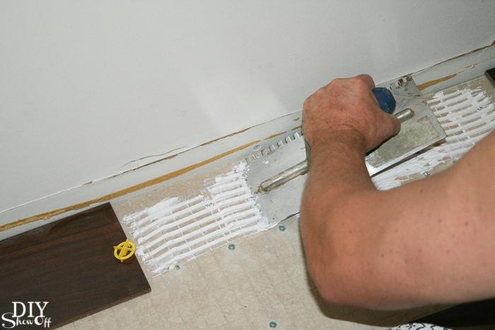 Herringbone Tile Floor - DIYShowOff