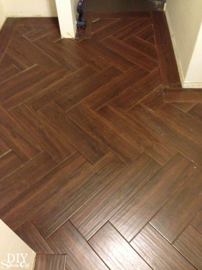 Laundry Room Herringbone Pattern Tile Floor Details Diy