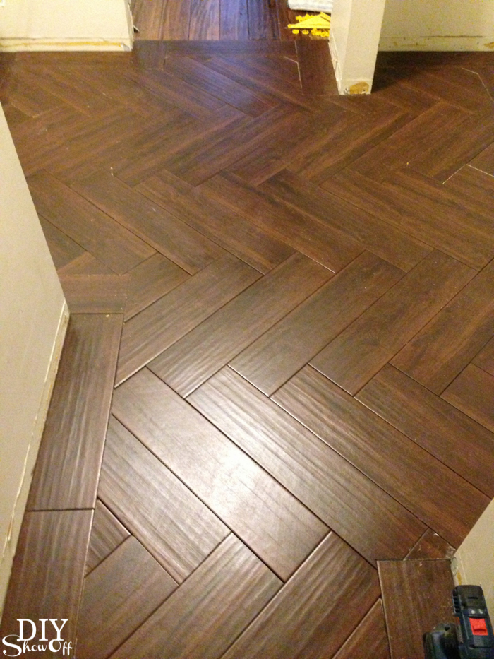 Laundry Room Herringbone Pattern Tile Floor Details DIY Show Off