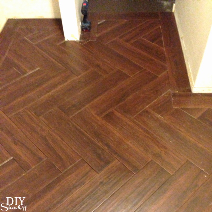 Laundry Room Herringbone Pattern Tile Floor Details Diy Show Off
