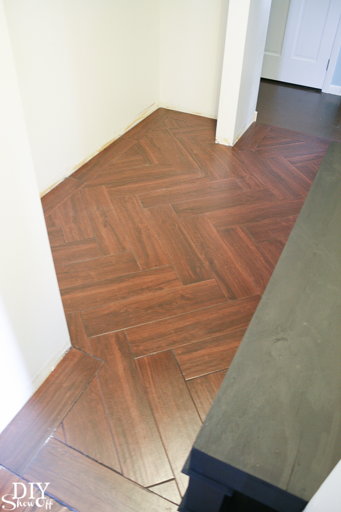 Laundry Room Herringbone Pattern Tile Floor Details DIY Show Off - Click lock porcelain tile