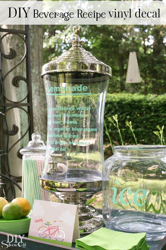 DIY lemonade recipe vinyl decal on beverage glass