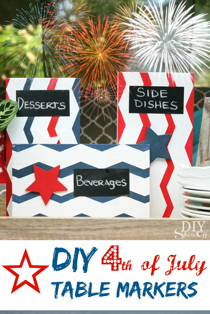 DIY red, white and blue table markers at diyshowoff.com
