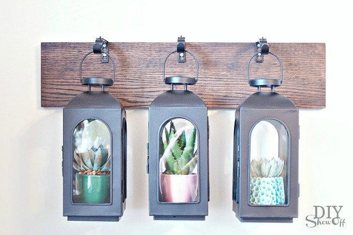 DIYShowOff Wall Mounted Lantern Hanger Greenhouse tutorial at diyshowoff.com