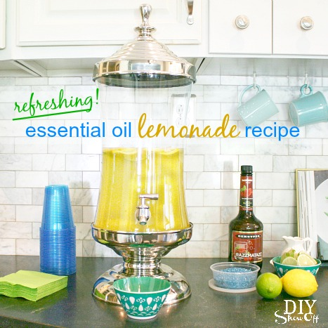 refreshing lemonade using Young Living lemon essential oil at diyshowoff.com