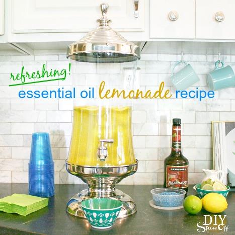 refreshing lemonade using Young Living lemon essential oil at diyshowoff.com
