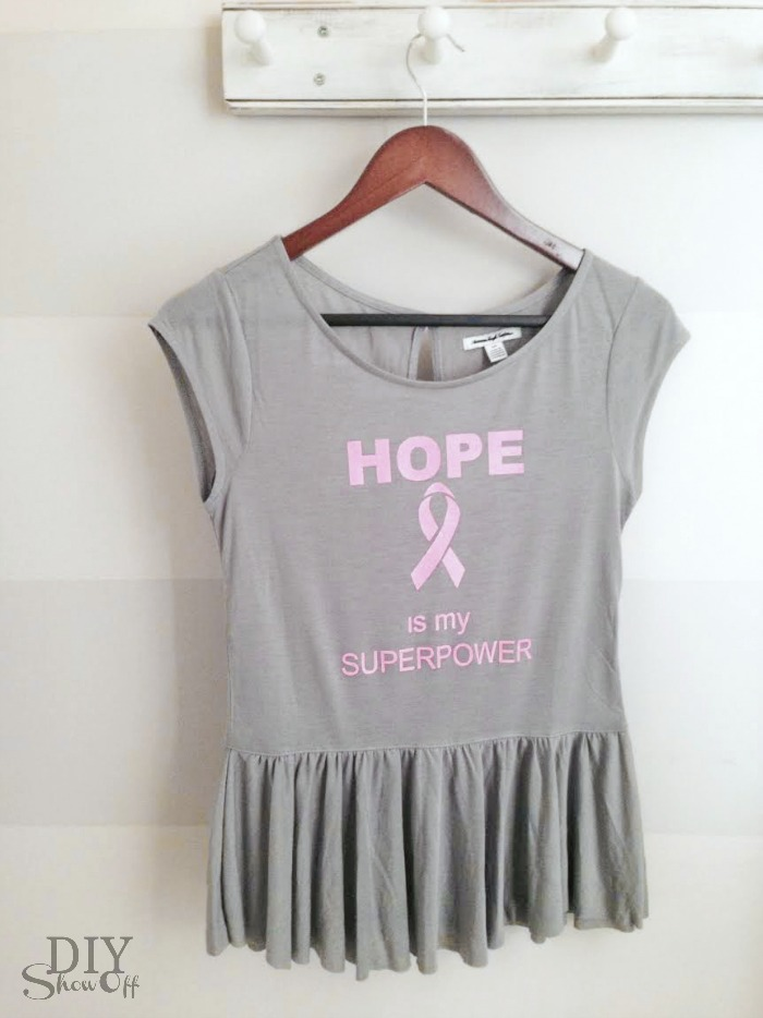 Hope is my super power breast cancer iron on decal tutorial