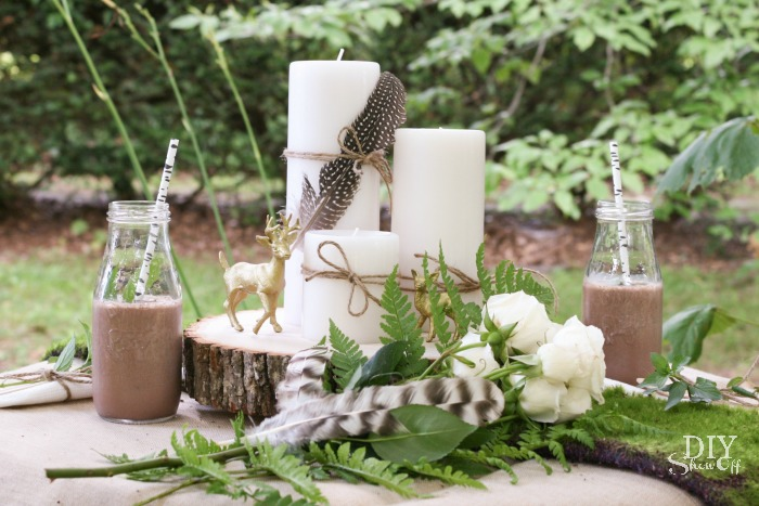 rustic glam woodland centerpiece at diyshowoff.com