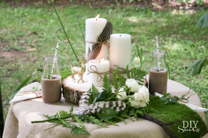 Rustic glam woodland centerpiece and a mint mocha smoothie