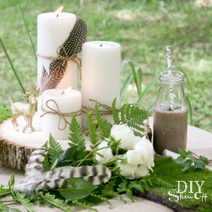 glam and rustic table centerpiece at diyshowoff.com