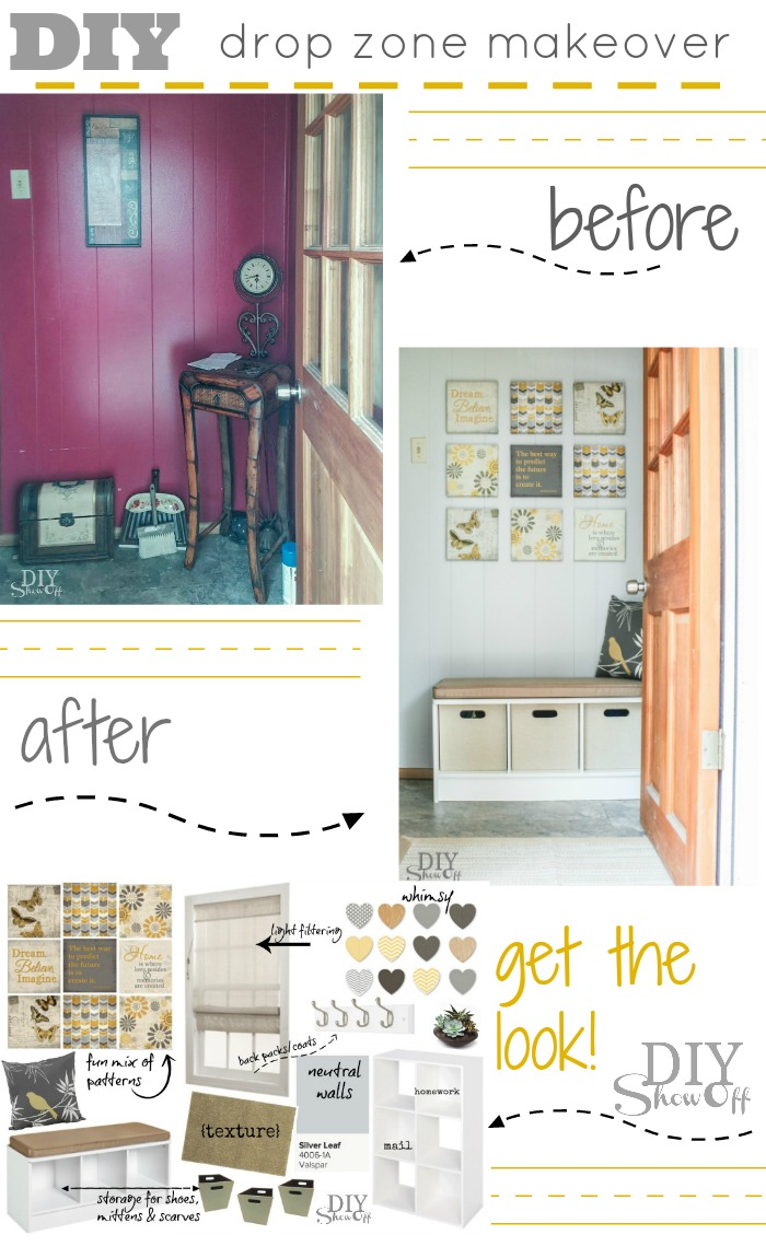 Drop Zone Makeover {Back To School Organization} Before