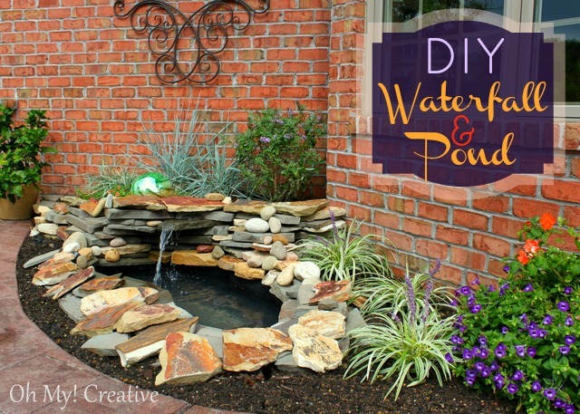 Diy-waterfall-and-pond at OhMy-Creative