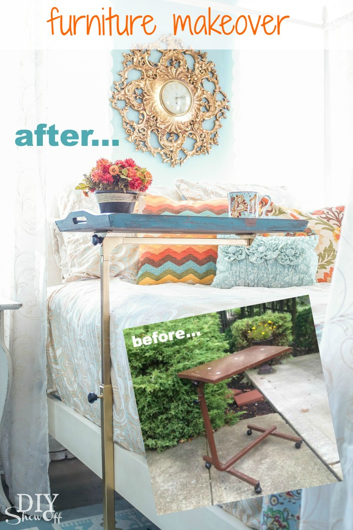 Hospital Bedside Table Makeover tutorial