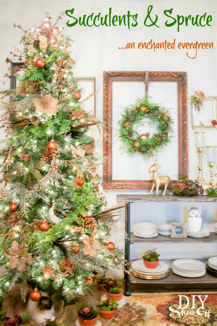 Succulents & Spruce Christmas Tree @diyshowoff - #michaelsmaker dream tree challenge
