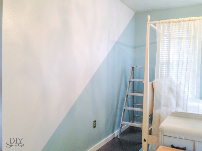 Guest room nursery diagonal wall paint refresh diy show off diy decorating and home - Design painting of wall ...