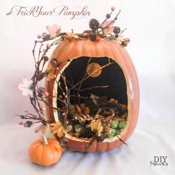 scenic faux pumpkin jackolantern tutorial @diyshowoff #trickyourpumpkin