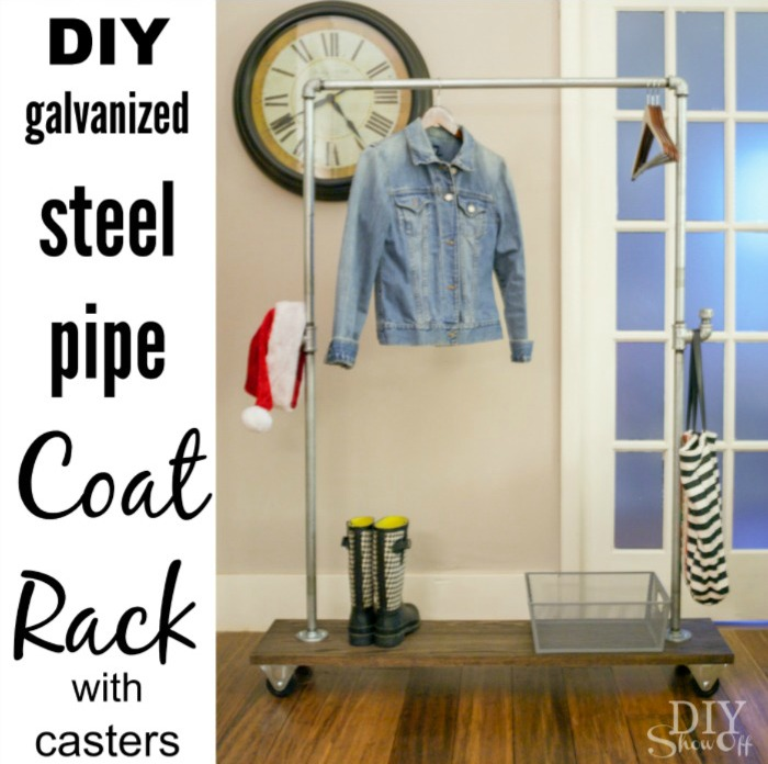 DIY coat rack with galvanized steel pipe and casters @diyshowoff