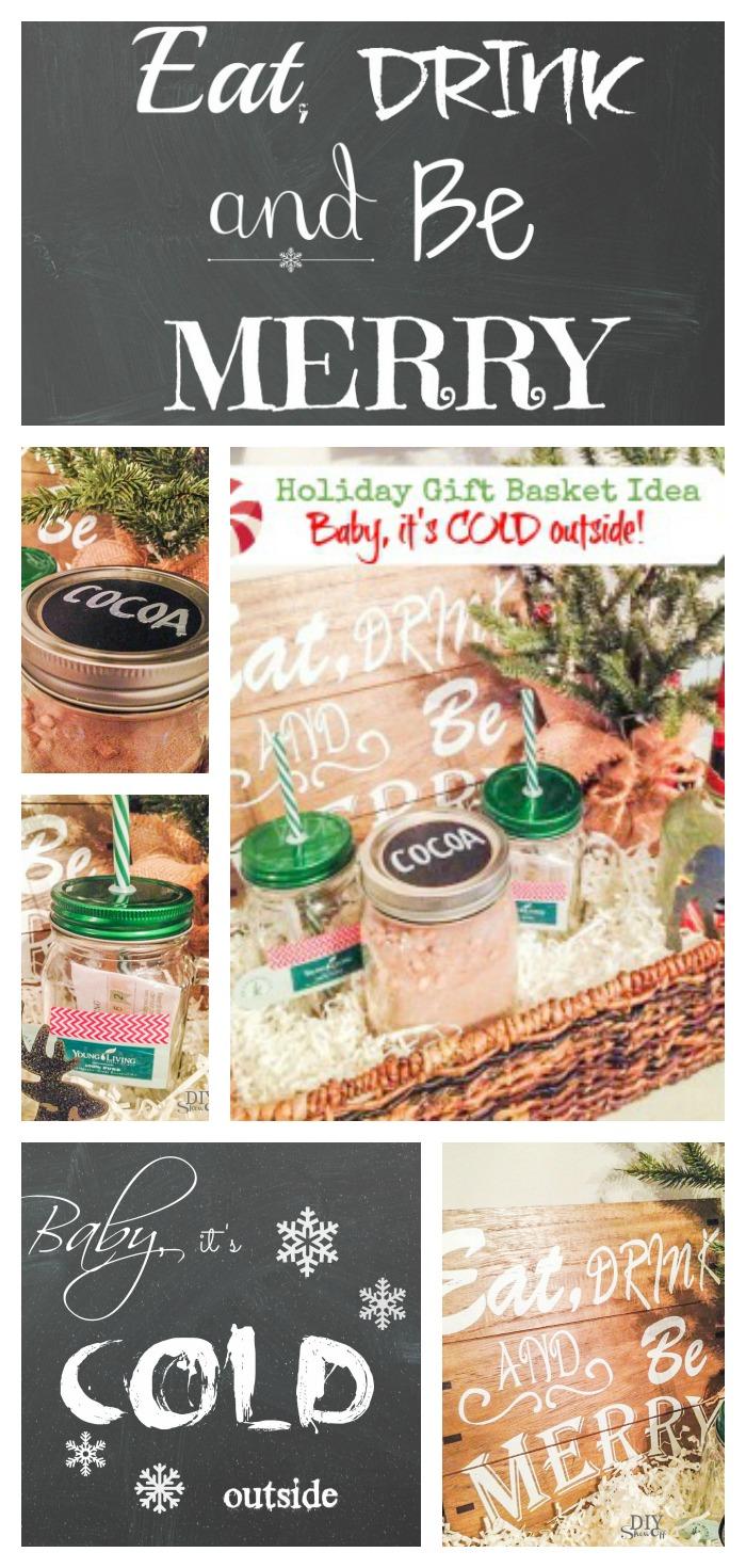 Holiday Gift Basket Idea with free printable art @diyshowoff