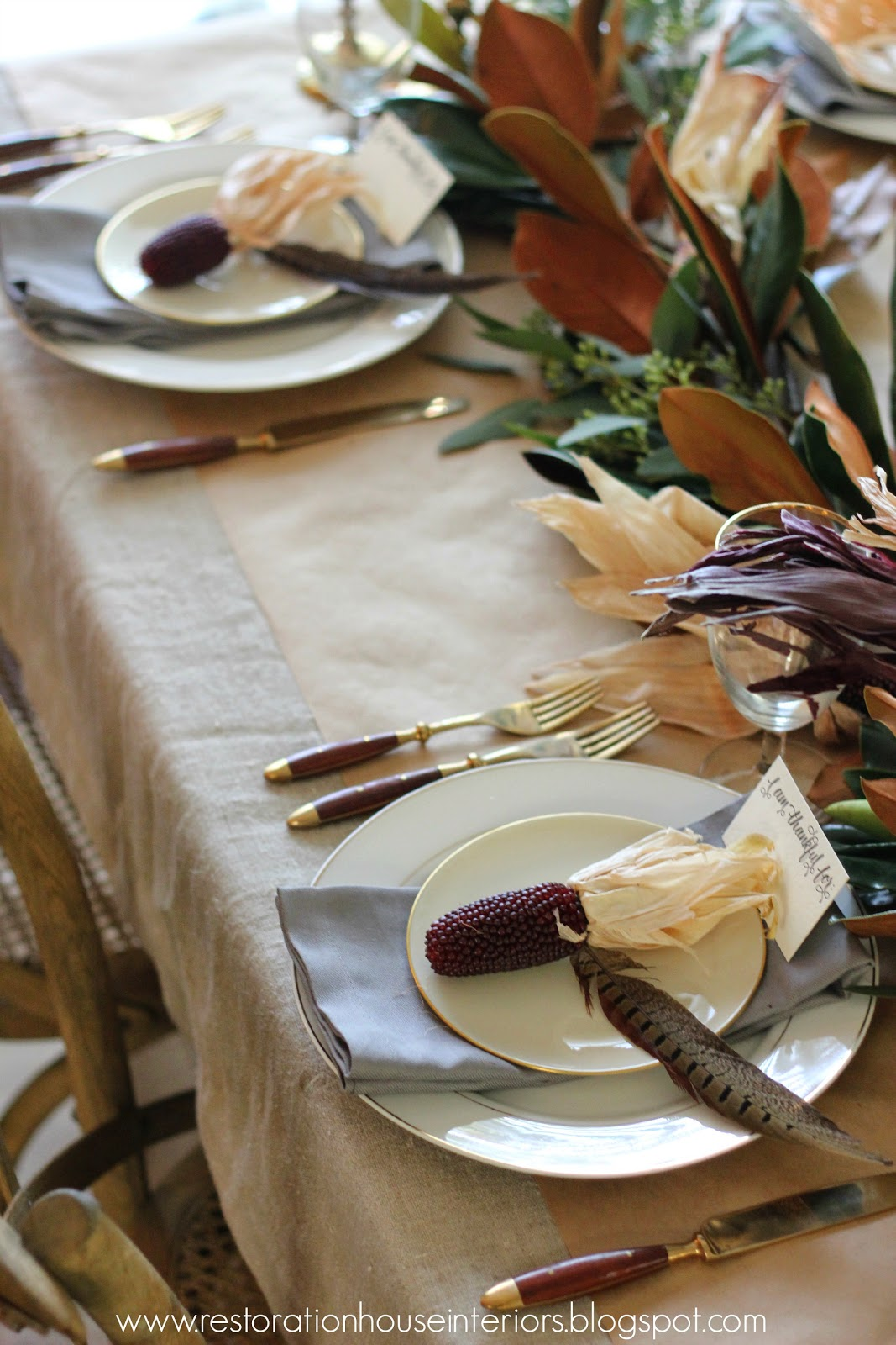 Natural Thanksgiving Tablescape @restorationhouseinteriors