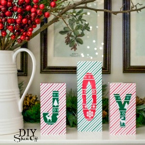 JOY vinyl covered blocks tutorial @diyshowoff #happycrafters