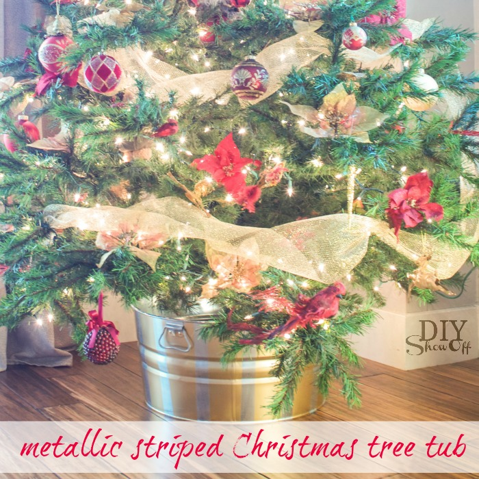 metallic striped Christmas tree tub tutorial @diyshowoff