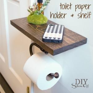 DIY toilet paper holder and shelf @diyshowoff