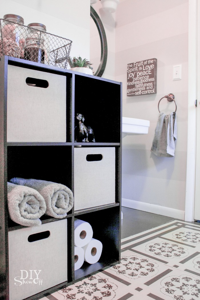 bathroom storage cube and bins