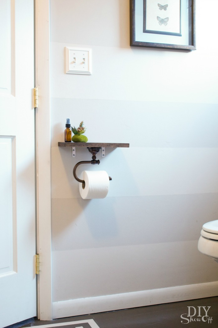 diy toilet paper holder with shelf tutorial diyshowoff - Bathroom Accessories Toilet Paper Holders