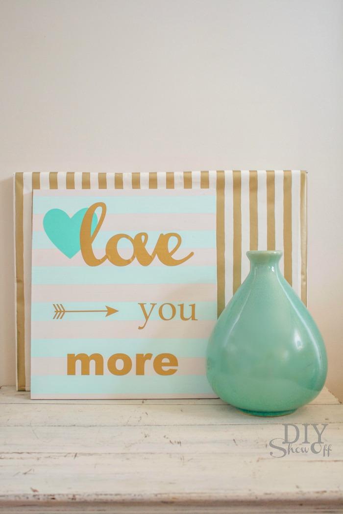 striped Valentine LOVE sign @diyshowoff.com