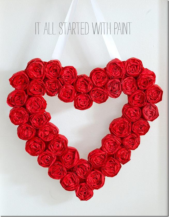 tissue paper heart wreath @itallstartedwithpaint