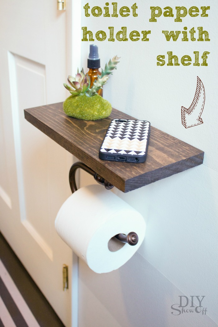 diy toilet paper holder with shelf tutorial diyshowoff