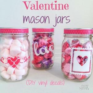 DIY Valentine vinyl decals for mason jar gift at diyshowoff.com