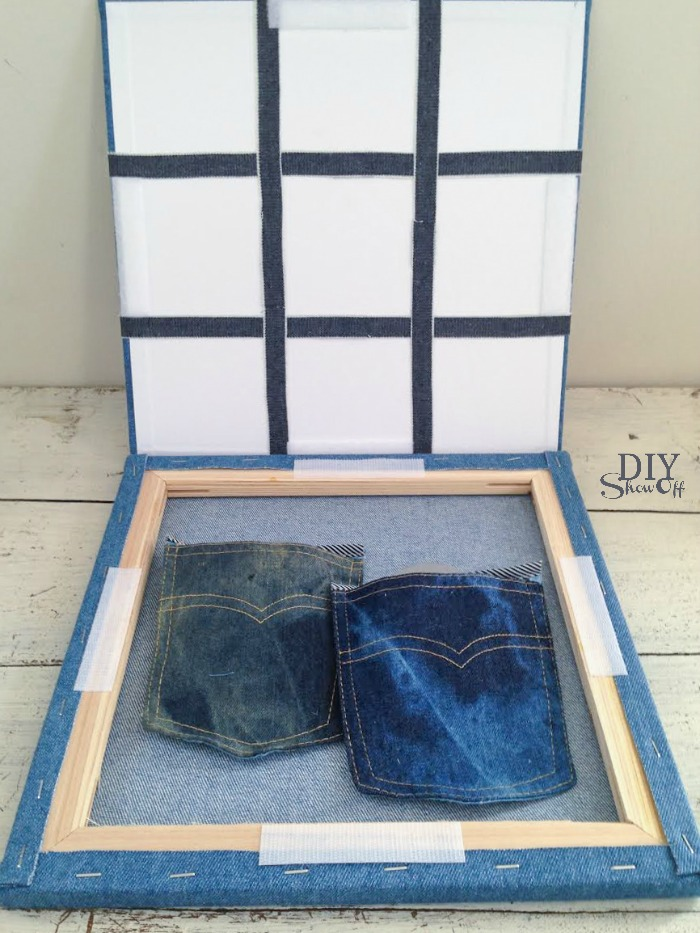 DIY denim tic tac toe game and carrying case @diyshowoff #michaelsmakers